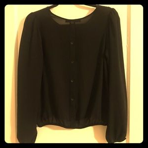 Forever 21 Black Sheer Button Back Blouse, Sz S